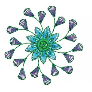 Blue and Violet Flower Embroidery Designs