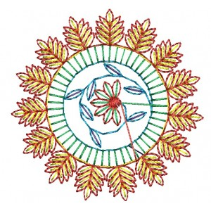 Flora Circle Embroidery Designs