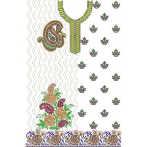 Rose and butta full dress embroidery