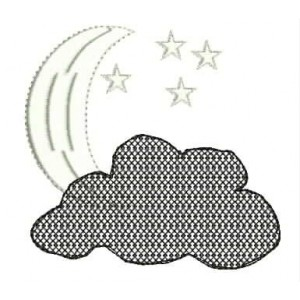 Moon and Star in Cloud Embroidery designs