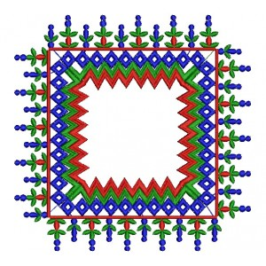 Indian Square Embroidery Design