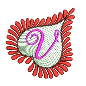 Heart Alphabets V Embroidery Design
