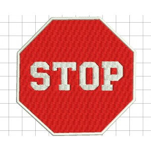 STOP Road Sign Embroidery Design