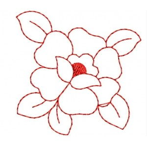 Rose Redwork 2x2 Embroidery Designs