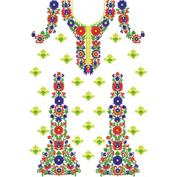 Floral full classic dress embroidery designs