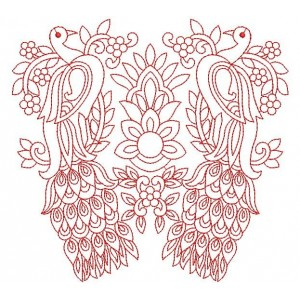 Red work Peacock Designs