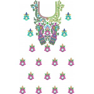 Full Dress Peacock Embroidery Designs