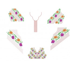 Choli Split Embroidery Designs Neckline