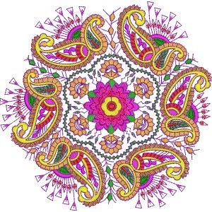 Heavy Colourful Embroidery Designs Quilt 7