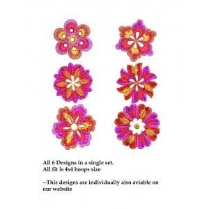 Cute colouful embroidery designs set