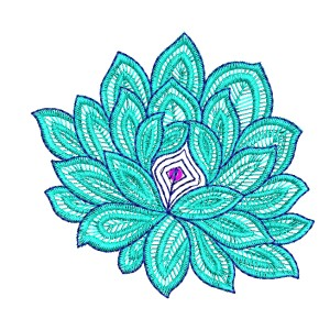 Lotus like Sequin Flower embroidery designs 3074