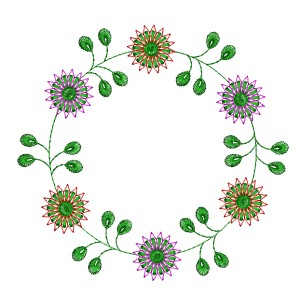Embroidery Frame Floral Circle Designs