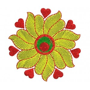 4x4 heart Floral Embroidery Designs 01