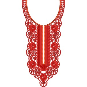 Red Traditional Embroidery Dress Neckline