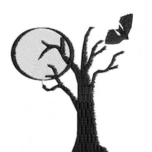 Halloween Silhouette Embroidery Design 5x7