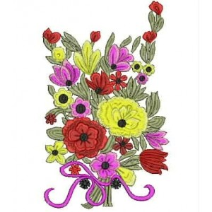 Flower Vase Embroidery Design