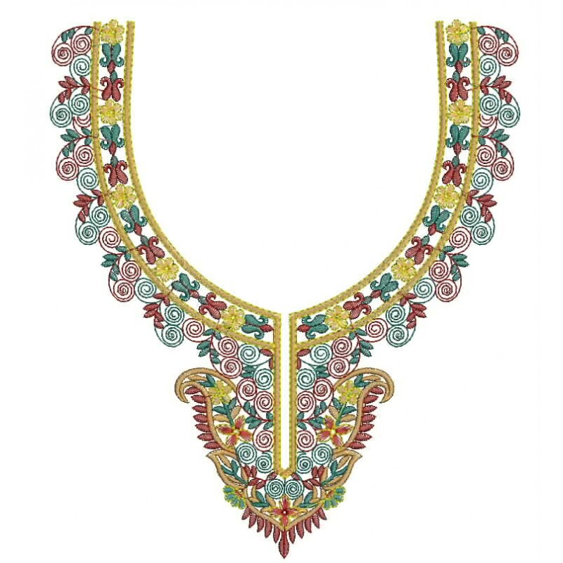 Out line neckline embroidery design neck indian