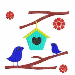 Love Bird House Embroidery Design