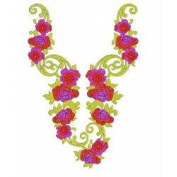 Large Floral Yellow and Green Neckline Design