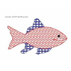 US Patriotic Motif Filled Fish Design