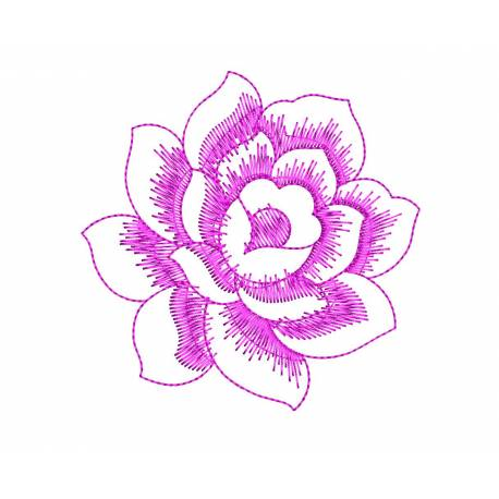Outline Rose Embroidery Design