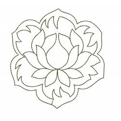 Beautiful Lotus Outline Embroidery Design
