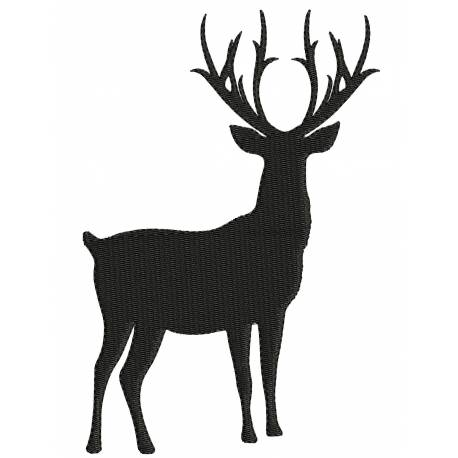 Deer Silhouette Embroidery Design