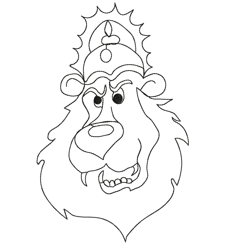The king Lion Embroidery Design