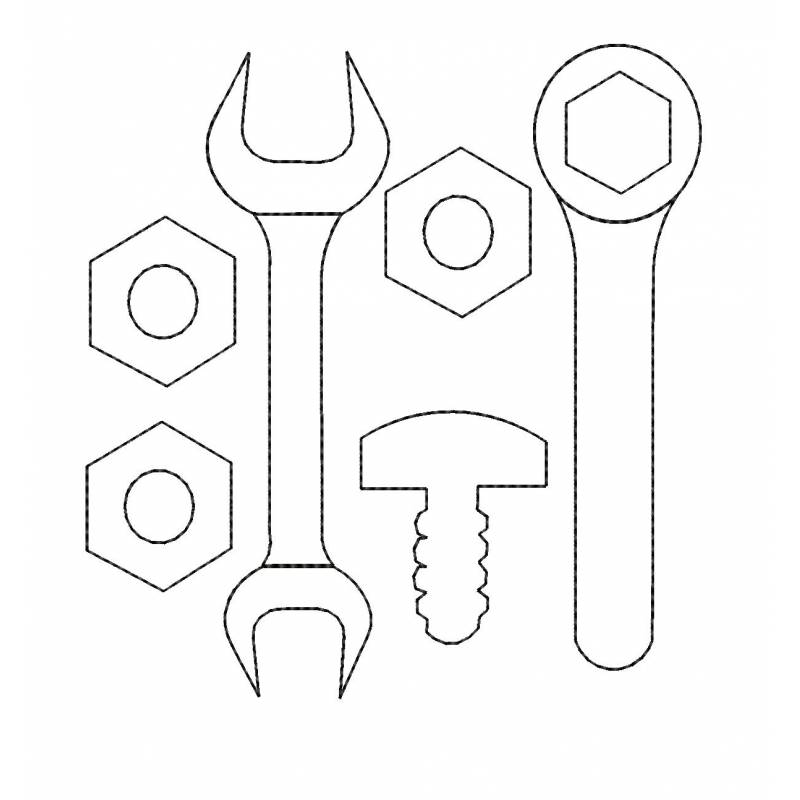 Nut Wrench Bolt Tool Embroidery Design