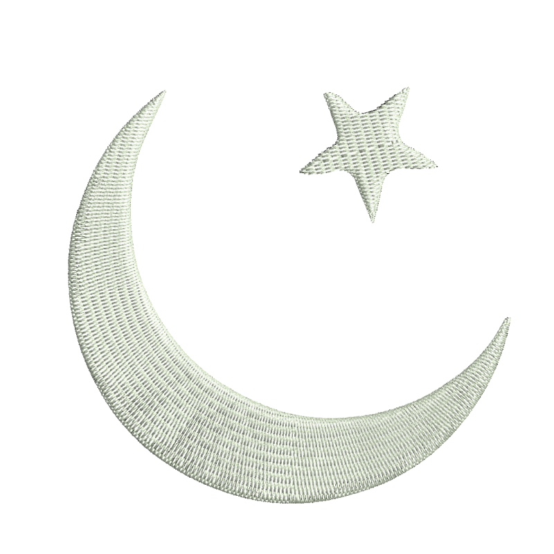 Moon Star Embroidery Design