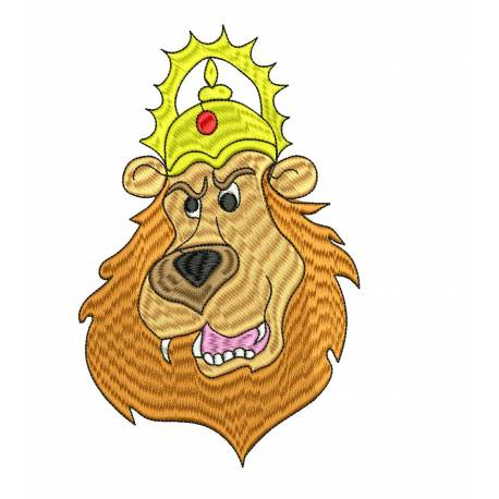 The King Lion Animal Embroidery Design