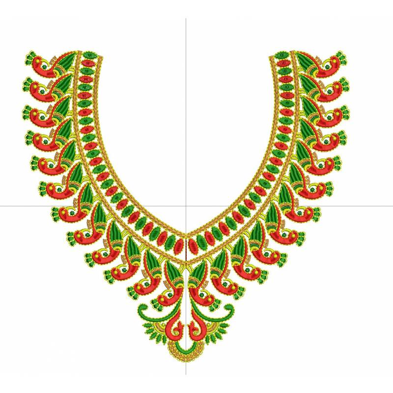 Peacock Neckline Embroidery Design