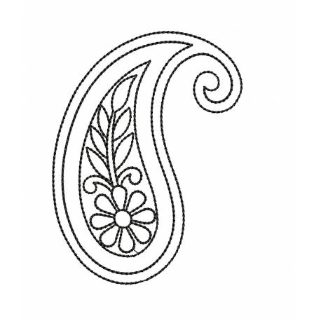 Outline Paisley Embroidery Design