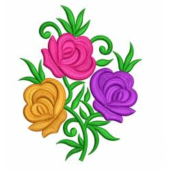 Multi Color Rose Flower Embroidery Design