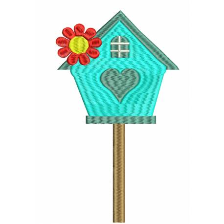 Bird House Embroidery Design