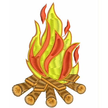 Wood Fire Machine Embroidery Design