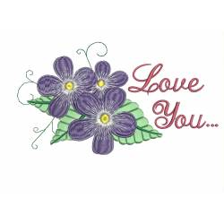 Flower with Love Quote Machine Embroidery