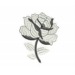 Black&White Rose Machine Embroidery Design