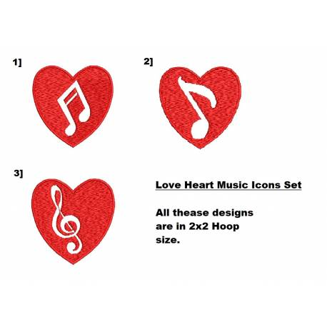Love Heart Music Icons Set