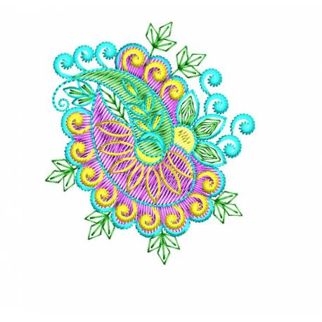 Small Paisley Type Flora Machine Embroidery