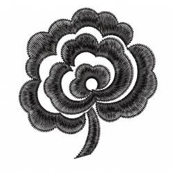Black Rose Flower Machine Embroidery