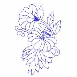 New Outline Floral Machine Embroidery