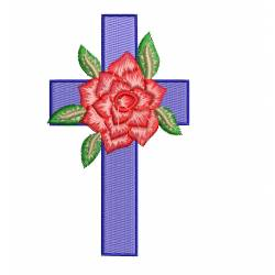 Red Rose & Cross Machine Embroidery Design