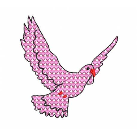 Motif Filled Dove Love Embroidery