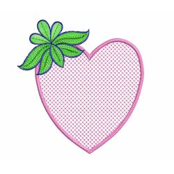 Heart with Leaves Embroidery Design