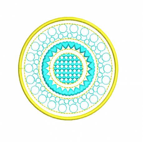 Motif Filled Circle Coaster Embroidery Design