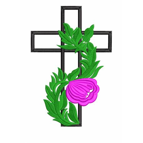 Cross With Leaves Floral Embroidery Design