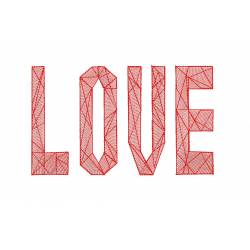 Love Quote With Diamond Outline Embroidery